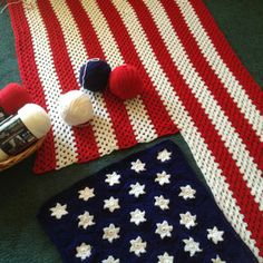 American Flag Afghan. I like how the blue and stars were done separate than the stripes...I would do single crochet with the stars from a graph, then double crochet the stripes