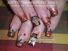 THANKSGIVING nail art pilgrim and native girl 513 juicy check out www.MyNailPolishObsession.com for more nail art ideas.