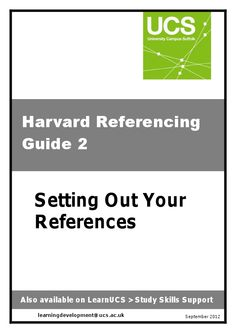 This brief guide tells you how to reference the most commonly used sources – books, journals, e-books, e-journals and websites.
