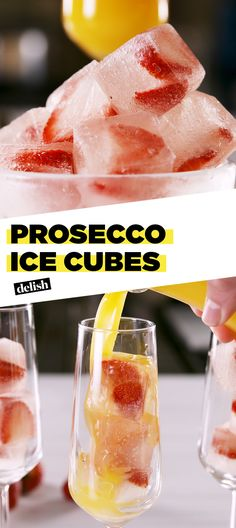 Prosecco Ice Cubes = the most amazing thing to ever happen to wine. Get the recipe at Delish.com. #prosecco #wine #icecubes #delish #easyrecipe #recipe #alcohol