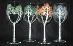 Handpainted Wine Glasses 4 Seasons of the Aspen by 4SeasonsArt4You, $50.00