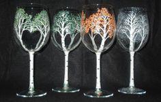 Handpainted Wine Glasses 4 Seasons of the Aspen by 4SeasonsArt4You, $60.00