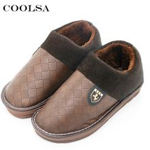 Coolsa New Winter Men Large Size Slippers Leather Plush Flat Slip-On Home Slipper Waterproof Mens Big Size 48 Warm Casual Shoes (China)