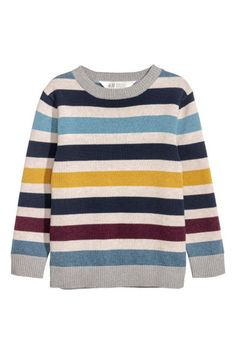 Fine-knit jumper - Light grey/Striped - Kids | H&M