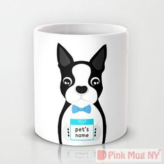 $15.95, they have other breeds, Personalized mug cup designed PinkMugNY - Boston Terrier with pet's name