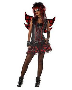 Teen Rebel Fairy Costume Product Description This Teen Rebel Fairy Costume includes the dress with a faux leather bodice trimmed in red with lace-up detail Witch Costumes, Halloween Costumes For Teens, Cute Costumes, Halloween Cosplay, Costumes For Women, Costume Ideas, Teen Costumes, Vampire Dress, Costume Supercenter