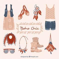 Ropa fashion y accesorios en estilo boho Vector Gratis