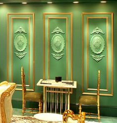 Three Aviero oval medallions and six chantilly wall decorations used inside the wall panels setting of the game table area creating a magnificent architectural backdrop Diy Wall Decor, Art Decor, Wall Decorations, Living Room Green, Living Rooms, Corner Designs, Creative Decor, Diy Storage, Plates On Wall