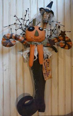 Primitive Halloween Witch Stocking E Pattern - pumpkin guy tag boot HAG bobbin prim. $7.99, via Etsy.