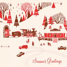 Pretty red, pink white vintage Christmas card village scene vintage cars