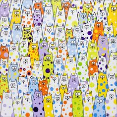 "We need more polka dot cats. Illustration by ©dianaparkhouse: ""Berry Berry Nice"" L'art Adolescent, Animal Art Projects, Teen Art, Kinds Of Cats, Photo Chat, Cat Quilt, Collaborative Art, Cat Colors, Cat Pattern"