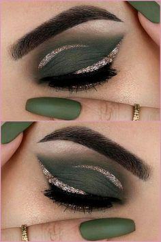 Yellow Eye Makeup, Smoky Eye Makeup, Green Eyeshadow, Makeup For Green Eyes, Eyeshadow Makeup, Easy Makeup Looks, Simple Eye Makeup, Evening Eye Makeup, Eye Makeup On Hand