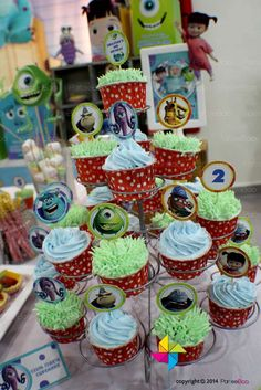 Monsters Inc. birthday party cupcakes!  See more party planning ideas at CatchMyParty.com!