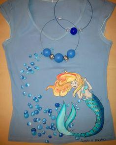 Mermaid t-shirt handpainted and  bubbles neckless hamdmaid