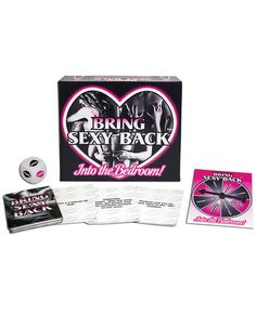 Bring Sexy Back, from Ball & Chain, is an exciting game for lovers who want add a little experimentation and imagination into their sex lives and turn every sex session into their own fantasy adventure. Enjoy many new levels of sexual fulfillment, guaranteed to bring the Sexy Back into your Bedroom! Contents: 1 Activity Die, 90 Activity Cards, and 1 Game Spinner.