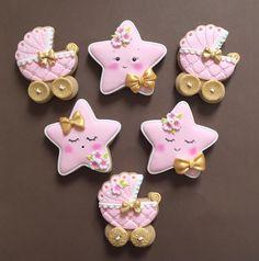 Baby Nicole's star and baby carriage cookies - baby - Kuchen Fondant Cookies, Galletas Cookies, Iced Cookies, Cute Cookies, Cupcake Cookies, Royal Icing Cookies, Cookie Favors, Flower Cookies, Heart Cookies