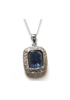 On ideel: SAVVY CIE Simulated Tanzanite and White Topaz Pendant Necklace