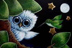TINY BABY BLUE OWL - A HUMMINGBIRD WITH A STAR... FOR YOU - by Cyra R. Cancel from