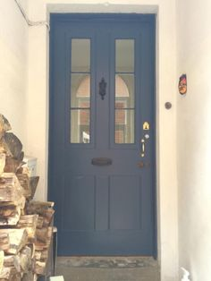 Farrow and ball stiffkey blue front door image - thinking this colour for the re-vamped front door! Front Door Paint Colors, Painted Front Doors, Front Door Design, Glass Front Door, Front Door Images, Victorian Front Doors, Georgian Doors, Georgian House, Victorian Terrace