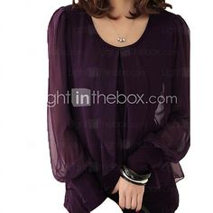 Women's Plus Size Solid Black/Purple T-shirt,Casual Round Collar Long Lantern Sleeve - CAD $19.45