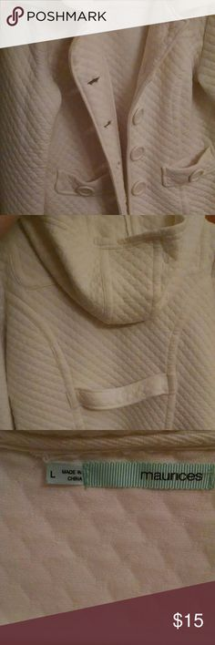 Jacket Lightweight button jacket in good conditon . smoke free home. Slight  color wear inside the jacket armpit area but is not noticeable when worn. No rips or stains. Has hood. Maurices Jackets & Coats Pea Coats