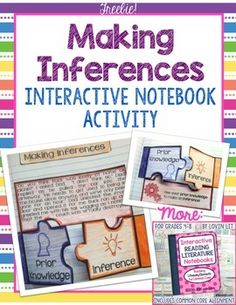 This freebie includes a complete interactive reading notebook lesson on making inferences. It is a bonus lesson that is not included in my other notebook products, so be sure to download this if you own those as well.This lesson includes 3 activities and is aligned to CCSS standards for grades 4-8.Are you thinking about using interactive notebooks in your reading classroom?