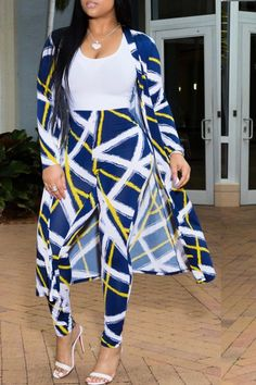 Shyfull Casual Printed Blue Two-piece Pants Set Blue Two Piece, Two Piece Pants Set, Casual Fall Outfits, Stylish Outfits, Champion Clothing, Business Casual Attire, Indian Designer Outfits, Kimono Fashion, Types Of Sleeves