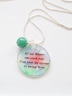 Walt Disney Quote Necklace Inspiring Jewelry by JesseAnneDesigns, $32.00