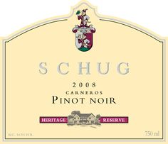 2008 Schug Carneros Estate Pinot Noir, Heritage Reserve. Sonoma Valley, the birthplace of California wine.