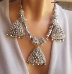 Traditional Yemenite necklace made of silvered glass beads