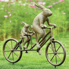 "Bicycle Bunnies Garden Sculpture with Rabbits on Tandem Bike 28"" x 28"" at Signals 