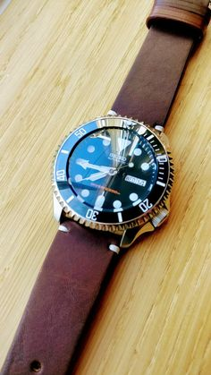 Seiko SKX007, recent mod. Dome, Ceramic, Submariner, Leather