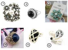 collares, anillos y zarcillos a la moda