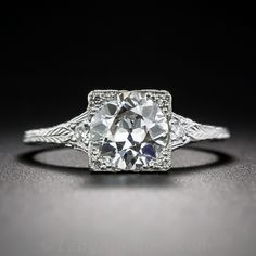 1.38 Carat Diamond and Platinum Art Deco Style Engagement Ring - 10-1-7091 - Lang Antiques