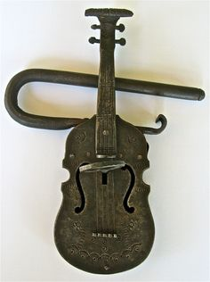 Antique Iron Violin Lock and Key circa 19th Century by SwampPink