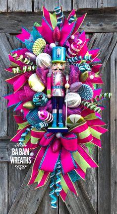 Ba Bam Wreaths, Nutcracker, Nutcracker Wreath, Christmas Wreath, Holiday Wreath, Christmas Decor, Bright Christmas Bright Christmas Decorations, Christmas Mesh Wreaths, Christmas Swags, Christmas Door, All Things Christmas, Christmas Holidays, Christmas Crafts, Christmas Ornaments, Teacher Mesh Wreaths