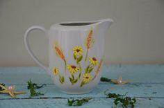 Mlecznik Bukiet polnych kwiatów milk jug handmade painted