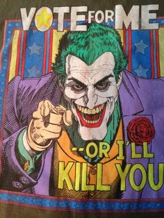 "Batman Joker ""Vote For Me Or I'll Kill You"" T Shirt Tee Grey & Multi Color EUC M #Batman #DCComics #GraphicTee #Joker"