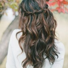 Brown braid crown hair brown hair pretty hair hair ideas beautiful hair hairstyles hair cuts braid c. Wedding Hair Down, Wedding Hair And Makeup, Hair Makeup, Simple Wedding Hair, Perfect Wedding, Makeup Hairstyle, Wedding Nails, Wedding Hair Curls, Braided Wedding Hair