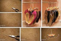DIY Flip Flop and Shoe Hanger from Wire Coat Hanger. See this tutorial here Shoe Storage, Diy Storage, Storage Ideas, Storage Solutions, Shoe Caddy, Hanging Storage, Shoe Hanger, Coat Hanger, Shoe Racks