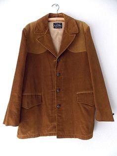Ending Today!! Brad Whitney Blazer Size Large Jacket Corduroy Vintage 70s Western Suit Coat #BradWhitney #BasicCoat