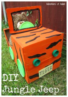 Create your own Tiger Jungle Jeep to explore a make believe jungle. Great for jungle role play. Create your own Tiger Jungle Jeep to explore a make believe jungle. Great for jungle role play. Jungle Theme Activities, Preschool Jungle, Jungle Crafts, Jungle Theme Classroom, Eyfs Activities, Vbs Crafts, Animal Activities, Jungle Theme Parties, Classroom Door
