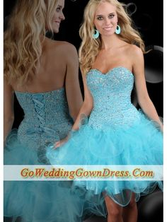 Discount 2012 Sweet Short Sweetheart Neck Mini-length Tulle Aqua Beading Sparkle Blue Prom Dresses Style 71030