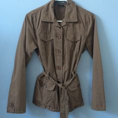 Belted Jacket Brown belted jacket. 100% cotton. Great condition. It will fit an extra small too. French Cuff Jackets & Coats Trench Coats