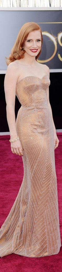 Jessica Chastain wearing Armani Prive on the Red Carpet for the 2013 Oscars