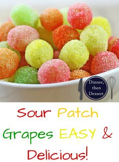 Healthy Snacks Sour Patch Grapes are my new go to for my sour candy fix! With only two ingredients, these candied grapes come together in seconds and taste like you threw deliciously tart green grapes into the machines at the Sour Patch Candy factory! Grape Recipes, Candy Recipes, Fruit Recipes, Snack Recipes, Cooking Recipes, Recipes With Grapes, Sour Patch Grapes, Sour Grapes, Sour Fruit