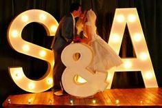 wedding initials - Light up letters - wedding Vintage Wedding Backdrop, Wedding Reception Backdrop, Reception Signs, Wedding Props, Wedding Centerpieces, Wedding Decorations, Wedding Backdrops, Marquee Wedding, Wedding Ideas