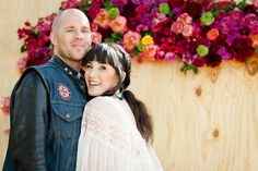 i love her dress and the whole theme of this wedding! so pretty, minus the biker attire lol Biker Photos, Boho Bride, Psychedelic, Love Her, Dream Wedding, Groom, Photoshoot, Photo And Video, Couple Photos