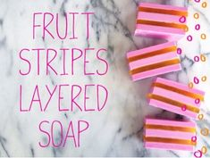 With bright, colorful layers and scents of sweet grape and pineapple-Fruit Stripes Layered Soap Recipe is perfect for a #diy kids project.