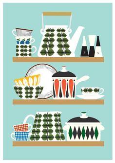 Kun je niet kiezen uit de kopjes-posters van Jan Skácelík? Neem dan het hele servies!